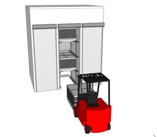 drying cell, forklift with sandwich unit, open shutter (2)