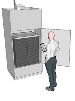 Cannabis drying - Drying cabinet with door open and man holding tablet with ABS software on it